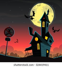 Scary house on night background with a full moon behind . Vector Halloween background with haunted house