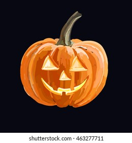 Scary Jack O Lantern halloween pumpkin with candle light inside, isolated on dark background
