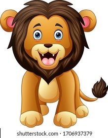 A scary lion on a white background