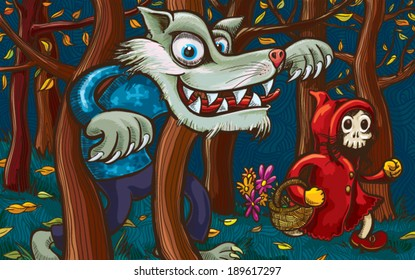 Scary Little Red Riding Hood and Big Bad Wolf. Hand-drawn vector illustration without gradients and transparencies.