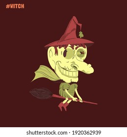 Scary looking witch who is sitting on her broom.