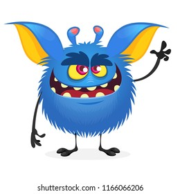 Scary monster character with a big mouth waving hand. Vector illustration clipart