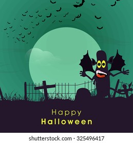 Scary monster with wings on horrible night background for Happy Halloween Party celebration.