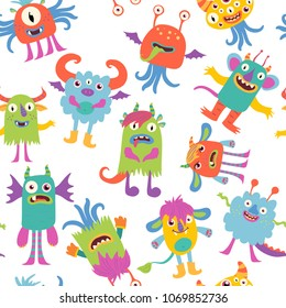 Scary monsters. Funny cartoon characters. Vector seamless pattern.