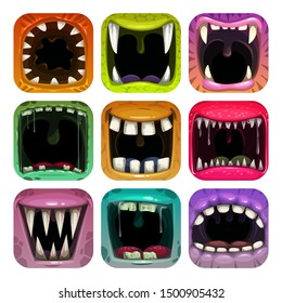 Scary mouth icons. App icon set for game logo design. GUI assets on white background.