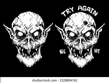 scary Nosferatu hole in head vector illustration print