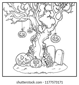 Scary old tree with tied pumpkins near tombstones linear drawing for coloring isolated on white background