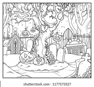 Scary old tree with tied pumpkins in an old abandoned cemetery with crypts linear drawing for coloring isolated on white background