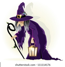Scary old witch with a lantern on a white background. Cartoon Halloween character
