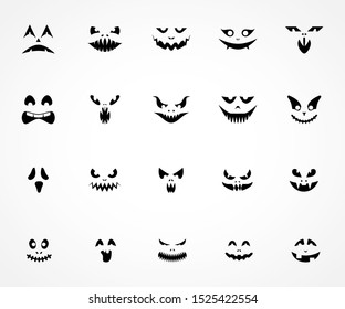 Scary Pumpkin Faces Silhouette. Icons for Halloween. Vector illustration on white background.