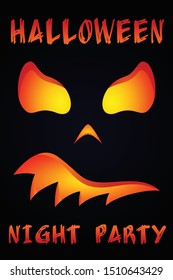 Scary pumpkin poster for Halloween night