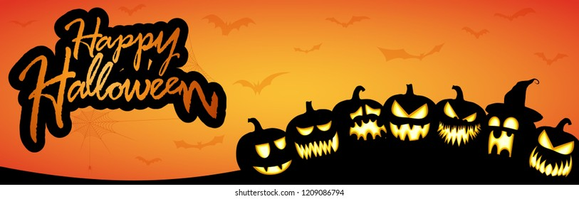 scary pumpkins with different faces with Happy Halloween greetings