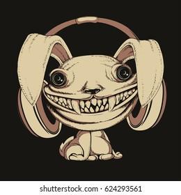 scary rabbit with headphones