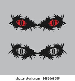 Scary Red Eyes Silhouette Illustration