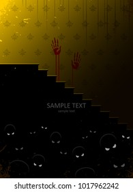 scary scene with monsters lurking in darkness in haunted house, halloween vector