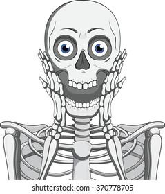 Scary skeleton.Hand drawn vector illustration.Skull emotion.Isolated on white.