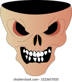 Scary skull with a cut off part of the head
