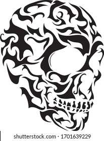 Scary skull transfer tattoo pattern, death vintage picture