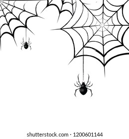 Scary spider web. Vector illustration.