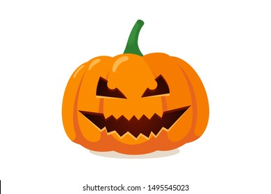 Scary spooky smile pumpkin jack o lantern with creepy tooths. Traditional decoration symbol of halloween holiday celebration. Vector illustration isolated on white background