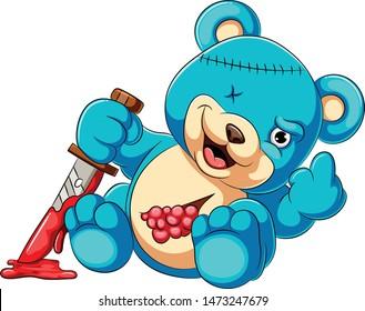 Scary teddy bear holding knife