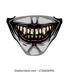 scary toothy jaw of a evil clown. Horror mask print illustration