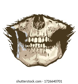 scary toothy jaw of a human skull. Horror mask print illustration