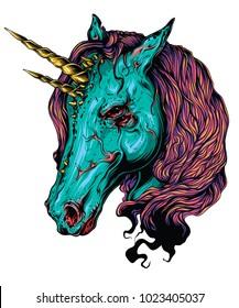 Scary unicorn. Vector illustration