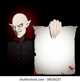 Scary Vampire shows you a creepy sheet of paper.  Great for invitations or editorial pieces.