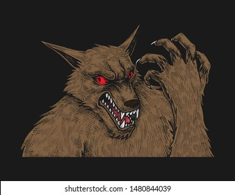 Scary Werewolf, Hand Drawn Illustration, Halloween Sketch, Isolated Vector