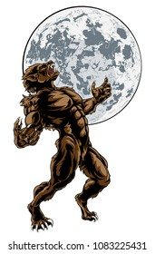 Scary werewolf wolf man horror monster howling against a full moon in the background