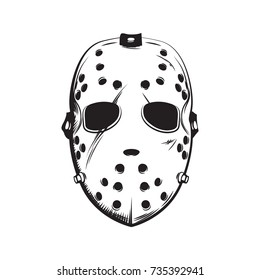 Scary white hockey mask hand drawn illustration