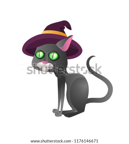 f87e07b9 Scary witch cat in hat. Halloween cartoon character flat vector  illustration. Halloween party concept