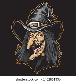scary witch face vector art