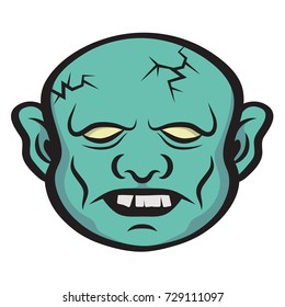 Scary Zombie creature. Icon of a zombie head. Halloween theme.
