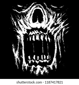 Scary zombie jaws on black background. Genre of horror. Vector illustration.