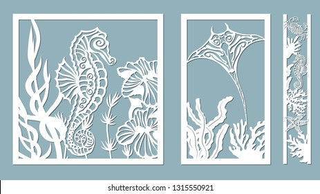 scate, starfish, seahorse, crab, algae, corals, Kelp, (laminaria, Macrocystis, Brown alga, rockweed, Fucus, Posidonia). Vector illustration. Set of paper marine animals stickers. Laser cut. Set