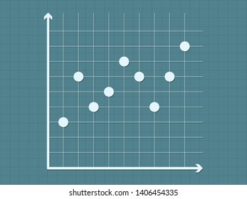 Scatter diagram chart on dark blue background vector illustration for business and education