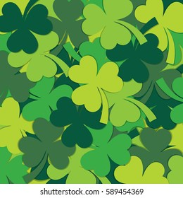 Scatter St Patrick's Day shamrock pattern in vector format.