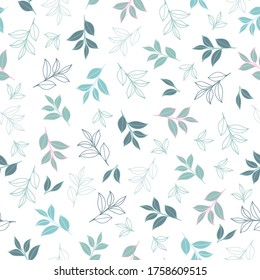 Scattered leafy motifs seamless pattern