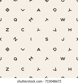 Scattered letters alphabet abstract background design vector seamless black and white pattern