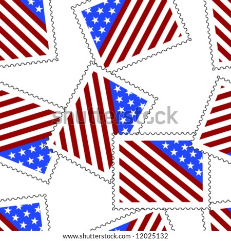26920e3e91f6 Scattered postage stamps with symbolic depiction of an american flag.  Seamless vector in any direction