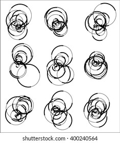 Scattered, random circle element set - Set of 9 monochrome geometric shape.