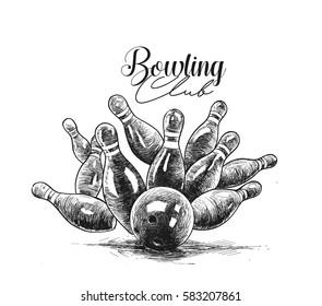 Scattered skittle and bowling ball, Bowling game leisure concept, Hand Drawn Sketch Vector Background.