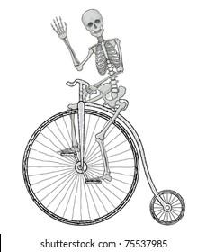Sceleton on a bike