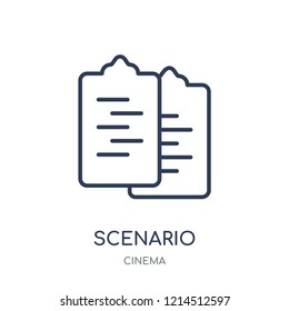 Scenario icon. Scenario linear symbol design from Cinema collection. Simple outline element vector illustration on white background.