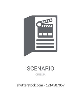 Scenario icon. Trendy Scenario logo concept on white background from Cinema collection. Suitable for use on web apps, mobile apps and print media.