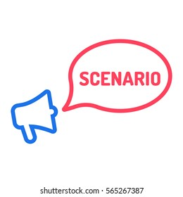 Scenario. Megaphone with speech bubble icon. Flat vector illustration on white background.