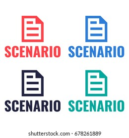 Scenario. Set of document icons, badges, logos. Vector illustrations on white background.