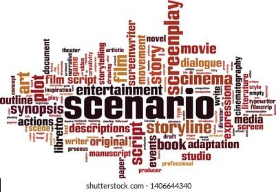 Scenario word cloud concept. Collage made of words about scenario. Vector illustration